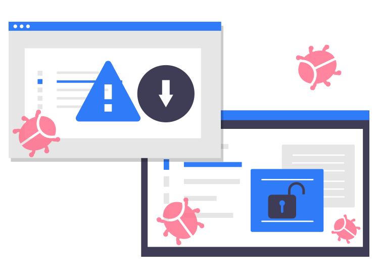 computer screens displaying malware